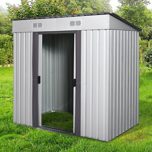 Outdoor Garden Storage Shed 6X4 FT Yard Storage Tool with Sliding Door for Backyard Gray