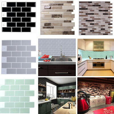 12x12 Inch 3d Self Adhesive Kitchen Wall Tiles Mosaic Tile Stickers Peel Stick Ebay