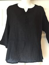 New_Kurta Tunic_Boho Peasant Black Crinkle Cotton Embroidered Shirt_Free Size