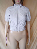 WOMENS RIVER ISLAND BEIGE STRIPED SHORT SLEEVE CROPPED BOMBER JACKET UK SIZE 6