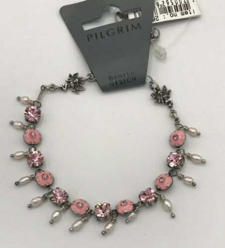 Pilgrim Danish Design Pink Enamel And Crystal Bracelet With Two Fairies AndPearl