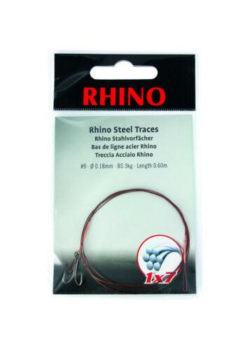 Rhino 1x7 Stahlvorfach 1 Stück Farbe braun mit Schlaufe und Zwillingshaken
