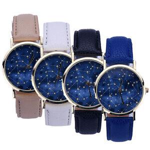 Men-039-s-Women-039-s-Starry-Dial-Casual-Wristwatch-Stylish-Leather-Analog-Quartz-Watch