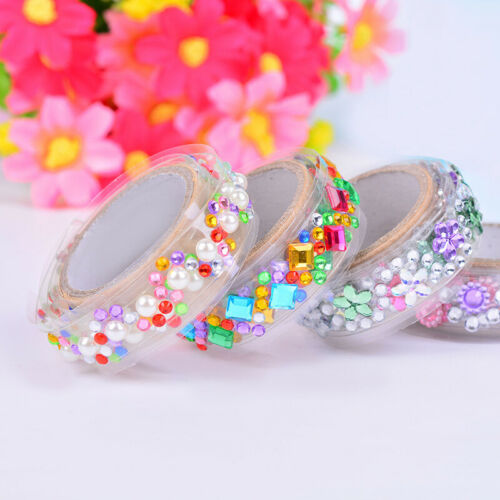 Cute Jewelry Crystal Adhesive Washi Sticky Paper Tape Decor Diary Sticker S8G0