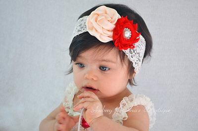 Baby Ragazze Fascia Per Capelli Pizzo Fiore Arco Elastico Hairband Accessori Per Capelli-