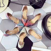 Women's Elegant Lady Stilettos Pointed Slim Heels Party Shoes Weave Multi Color