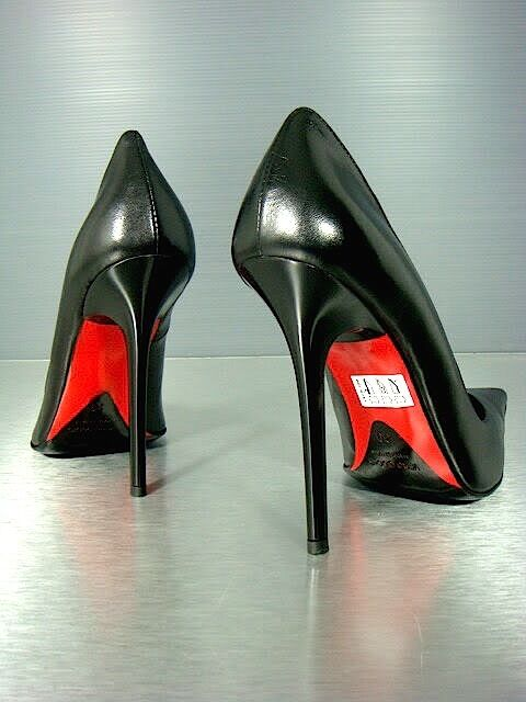 CQ COUTURE ITALY HEELS POINTY HOT PUMPS SCHUHE DECOLTE LEATHER RED BLACK black 45