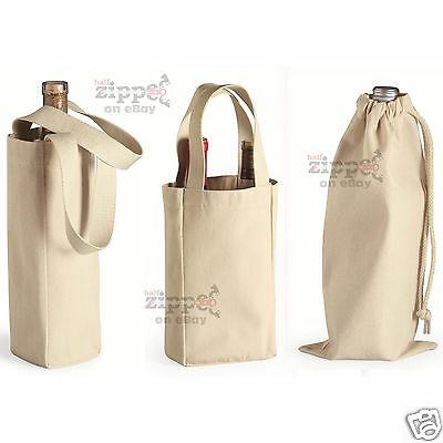Liberty Bags Single or Double Bottle Wine Tote or Drawstring Bag Cotton 1725