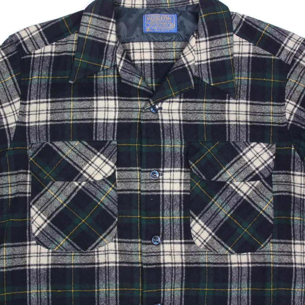 PENDLETON Vintage Virgin Wool Plaid bluee Green Mens Board Shirt sz M  7635