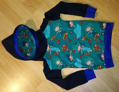 Kapuzenshirt dunkelblau Sweatstoff Pirat blaugrün selbst genäht