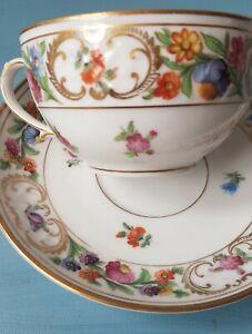 Antique/VTG Tea Cup &Saucer Set Schumann 'Royal Dresden Art' Bavaria Floral Gold