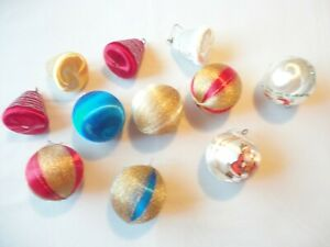Satin-Ornaments-Vintage-1970-039-s-Styrofoam-9-Assorted-Styles-Bells-Balls