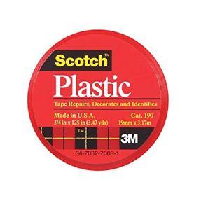"3m Scotch 190 Colored Plastic Tape 125"" Length X 3/4"" Width Red (pack Of 6) Artisanat D'Art"