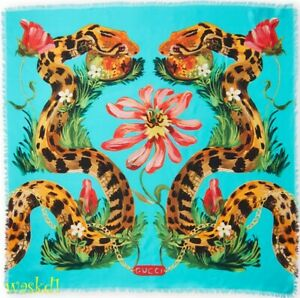 GUCCI-turquoise-Giant-SNAKES-amp-FLOWERS-Large-silk-eyelash-scarf-NWT-Authent-405