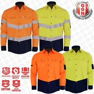 HI-VIS-SHIRT-SAFETY-COTTON-DRILL-WORK-Vents-UPF-50-LONG-SLEEVE-NEW-DESIGN
