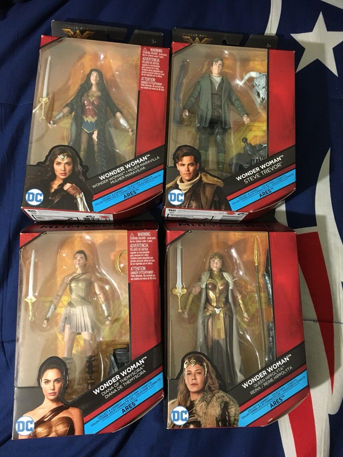 "DC Comics Multiverse Wonder Woman 6"" BAF Lot Complete Steve Diana Hippolyta Ares"