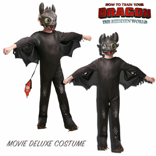 Toothless Night Fury How to train your dragon-3 Boys Movie Deluxe Costume