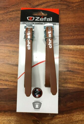 ZEFAL CHRISTOPHE BICYCLE TOE CLIP STRAPS BROWN NEW IN PACKAGE