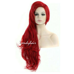 Long-Red-Wavy-Little-Mermaid-Princess-Ariel-Cosplay-Wig-Costume-Synthetic-Wigs