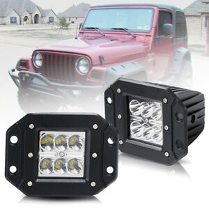Details about for jeep wrangler tj 2pcs 5 front rear bumper flush mount led work light bar image is loading for jeep wrangler tj 2pcs 5 039 039 aloadofball Image collections