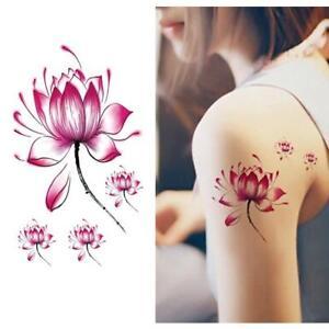 Temporaere-Wasserdicht-Tattoo-Aufnaeher-Lotus-Blume-Arm-Body-Art-Decals