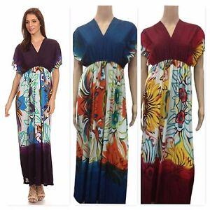 Details about Juniors Plus Size Maxi Dress Summer V Neck Short Sleeve Dress