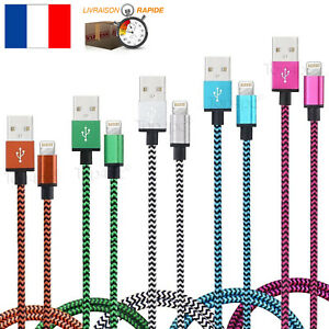 CABLE-POUR-IPHONE-6-7-8-5-X-SE-CHARGEUR-USB-METAL-RENFORCE-IPAD-AIR-IPOD-SYNCHRO