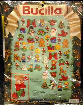 Bucilla FELT ORNAMENTS Craft Kit ~ Lotsa Christmas ~ 50 w Embroidery & Sequins