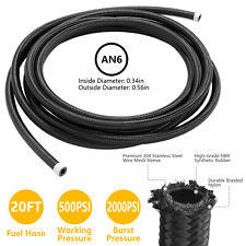 20 Feet Black An6 Nylon And Stainless Steel Braided Fuel Oil Gas Line Hose 6an
