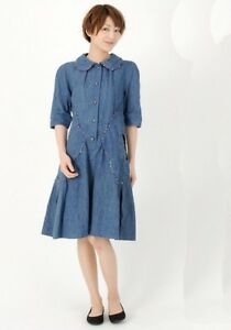 Authentic-Tsumori-Chisato-Denim-jean-dress-with-flower-pockets-size-3-Large-580