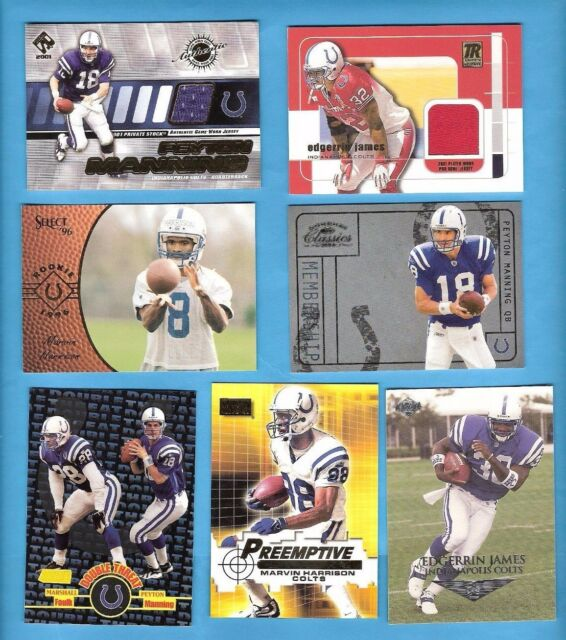 PEYTON MANNING GAME USED MARVIN HARRISON ROOKIE CARD