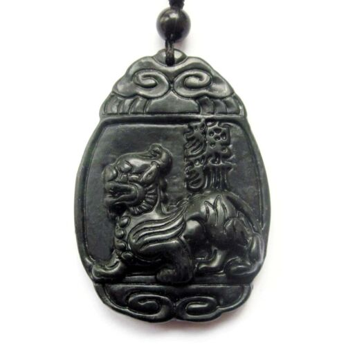 Black Green Jade Gem Happy Lucky Pixiu Dragon Word Amulet Pendant Talisman