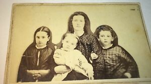 Rare-Antique-American-Civil-War-Victorian-Fashion-Family-MA-Relievo-CDV-Photo