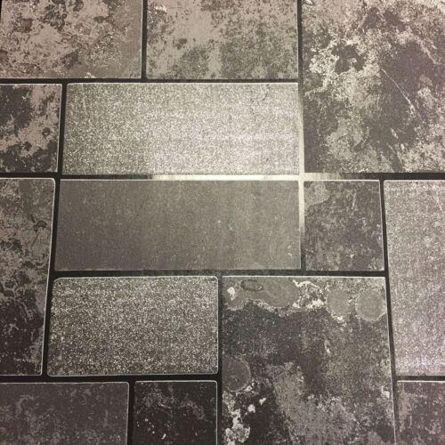 Black Glitter Brick Slate Stone Wallpaper Tile Kitchen /& Bathroom Textured Vinyl