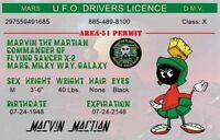 Marvin The Martian Ufo Drivers License. 2 1/2 X 4 Fridge Magnet. Looney Tunes