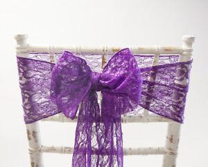 Purple Lace Chair Sash Bow Vintage Wedding Party Event Decor Ebay
