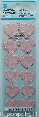 ~PINK LACE HEARTS~ Stickers MARTHA STEWART CRAFTS; Valentine's Day Love, Wedding