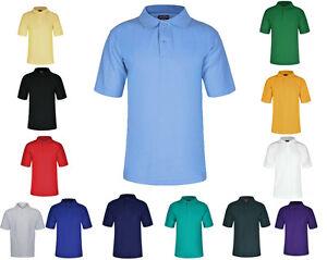 Ragazzi-Ragazze-Bambini-Scuola-Polo-T-shirt-uniforme-Sportive-Casual-P-E-alta-qualita