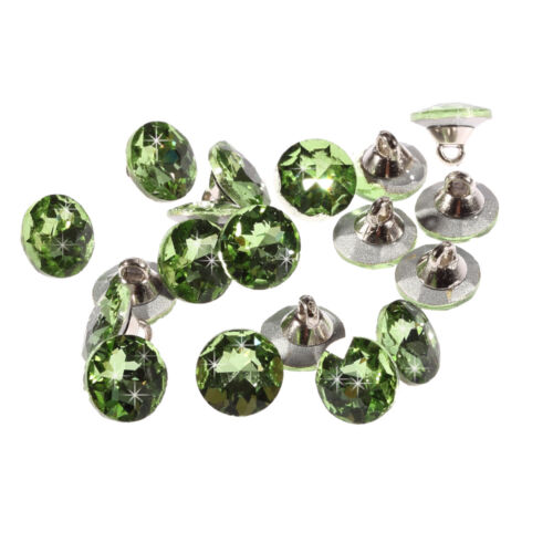 20pcs x 12mm Light Green Round Crystal Diamante Faceted Crystal Diamante Buttons