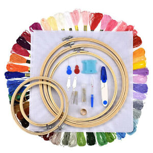 50X-Color-Cross-Stitch-Embroidery-Thread-Hoop-Kit-Skeins-Floss-Tool-Sewing-Set
