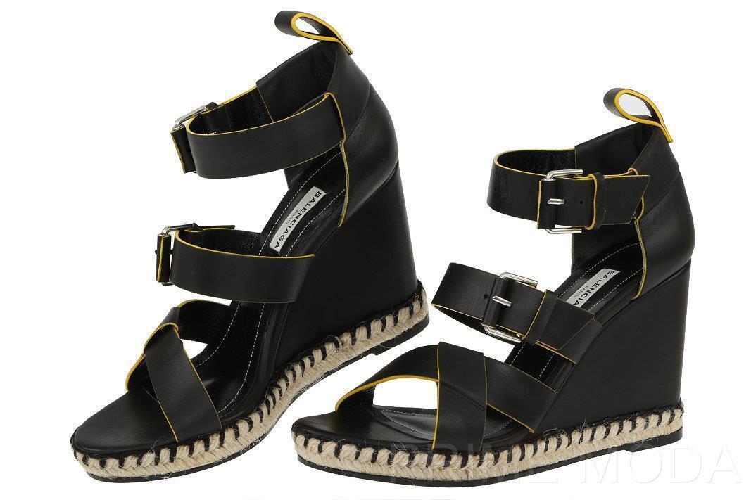Nuevas Alpargatas Sandalias De Cuña Cuña De Balenciaga Negro Cuero Zapatos De Plataforma 38 US 8 8dc1ba