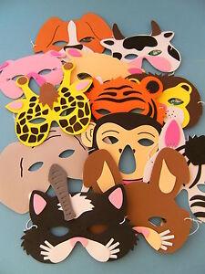 1 maske f kindergeburtstag karneval fasching tier tiere masken moosgummi theater ebay. Black Bedroom Furniture Sets. Home Design Ideas