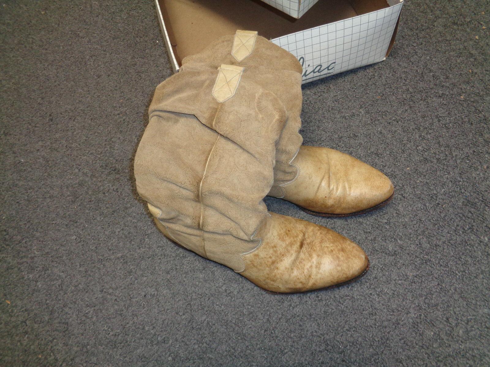 1980's Zodiac Mens Leather Stiefel  w Original Box   Tan Leather