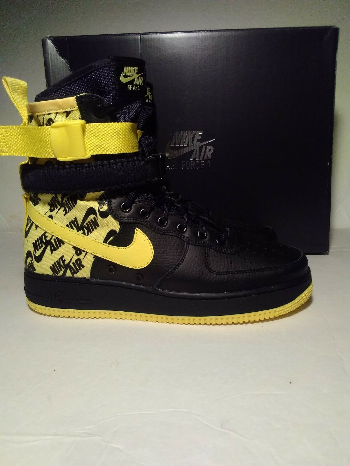 Nike Air Force 1 High SF AF1 Special Field Yellow Logos AR1955-001Men Size 13