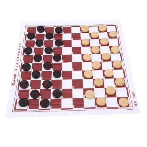 Portable Brown Wooden International Draughts Checkers Set Table Board CO