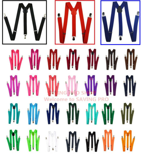 Mens Womens Clip-on Suspenders Elastic Y-Shape Adjustable Braces Solids
