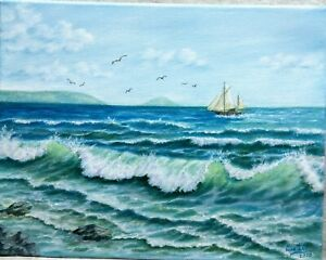 Art14-034-11-034-ocean-Hawaii-oil-hand-painting-Seascape-painting-ocean-landscape-surf