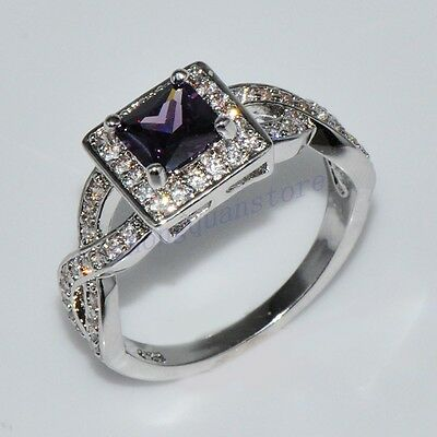 CZ Ring Size 10 Purple Amethyst Women's Crystal 10Kt White Gold Filled Wedding