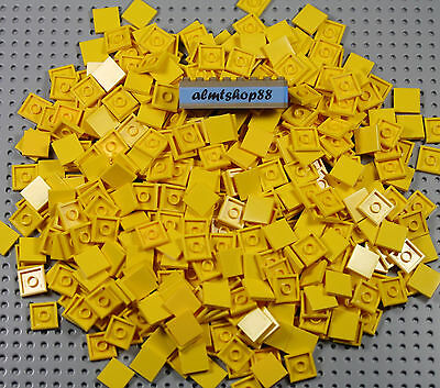 LEGO Lot of  8  2x2 Square Yellow Tile Top Plate