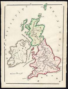 Unique Manuscript Map Great Britain England Scotland Ireland Dumont